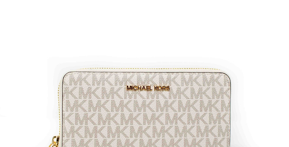 Cartera Michael Kors monogramada blanca