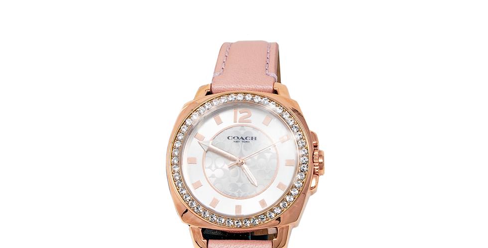 Reloj Coach rosa claro con cristales