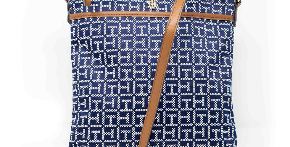 Crossbody Tommy Hilfiger azul  monogramada XL