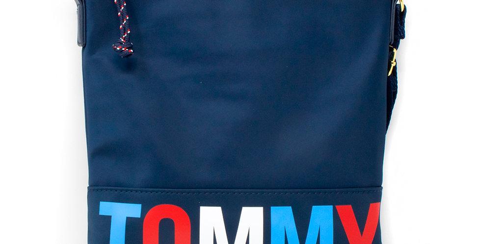 Crossbody Tommy Hilfiger azul con letras de colores