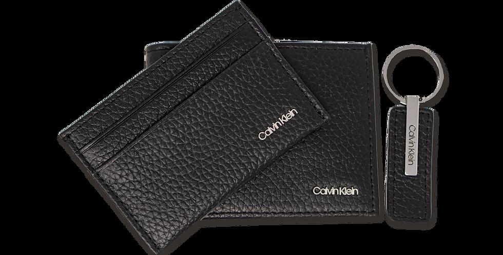 Kit Cartera Calvin Klein negro con llavero