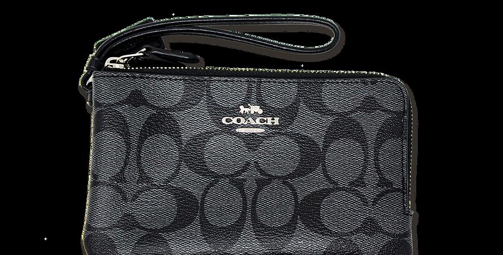 Muñequera monogramada doble Coach negra