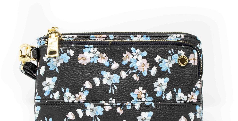 Cartera Steve Madden negro con flores azules