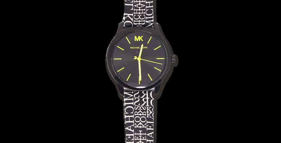 Reloj Michael Kors Negro con Blanco de piel
