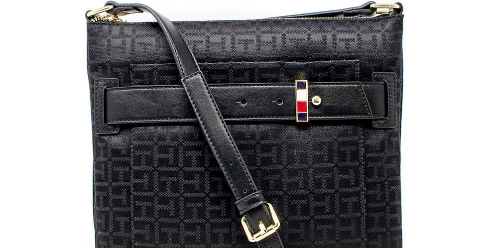 Crossbody Tommy Hilfiger negra monogramada XL