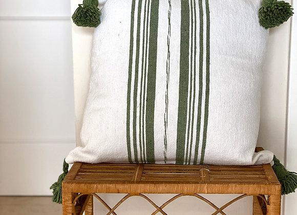 Coussin blanc ligné vert