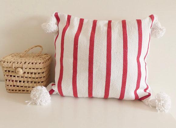 Coussin ligné rouge et blanc