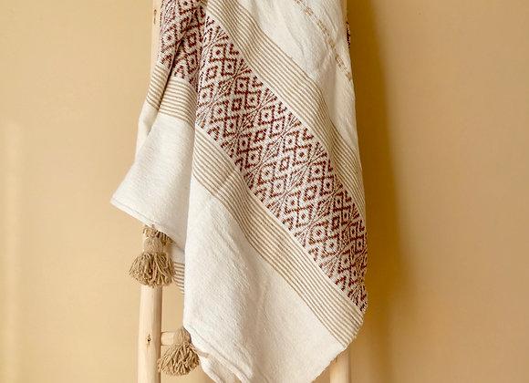 Plaid ou jetée de lit brodé blanc terracotta et camel