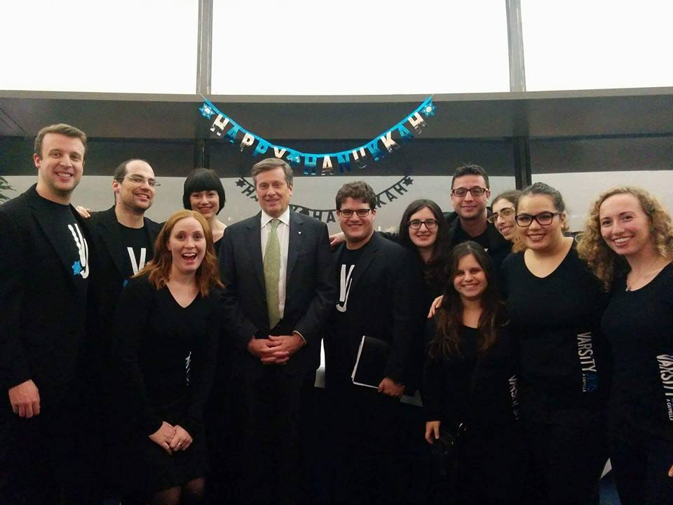 Varsity Jews with John Tory after a performance at the City Hall Chanukah Party