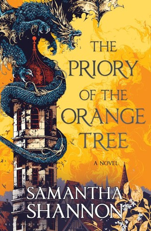 Book cover shows a blue dragon wrapped around a tower against an orange sky.