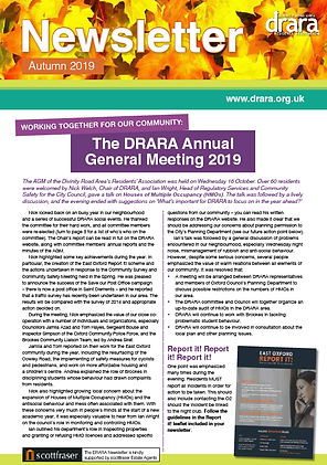 DRARA Autumn 2019 newsletter front page.