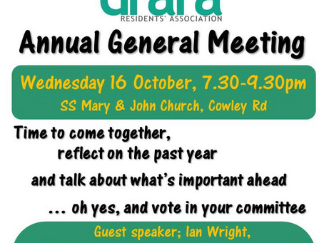 DRARA Annual General Meeting - this Wednesday 16th October 2019