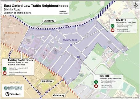 East Oxford LTN Divinity Road Area - location of traffic filters June 21.JPG