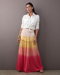 Saia cós elástico double gauze degradê rosê $520 Camisa MAI & MAI linho off white $460