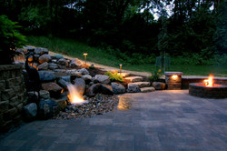 Omaha paver patio, pondless waterfal