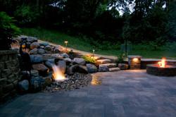 Omaha paver patio, pondless waterfal
