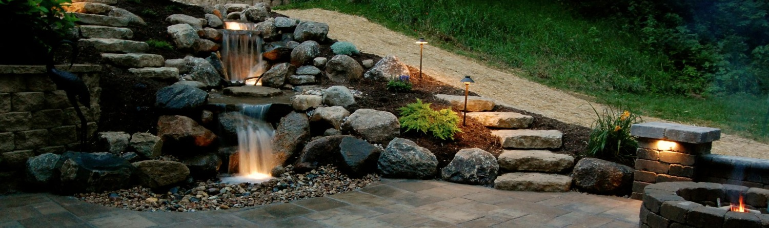 pondless waterfall, paver patio