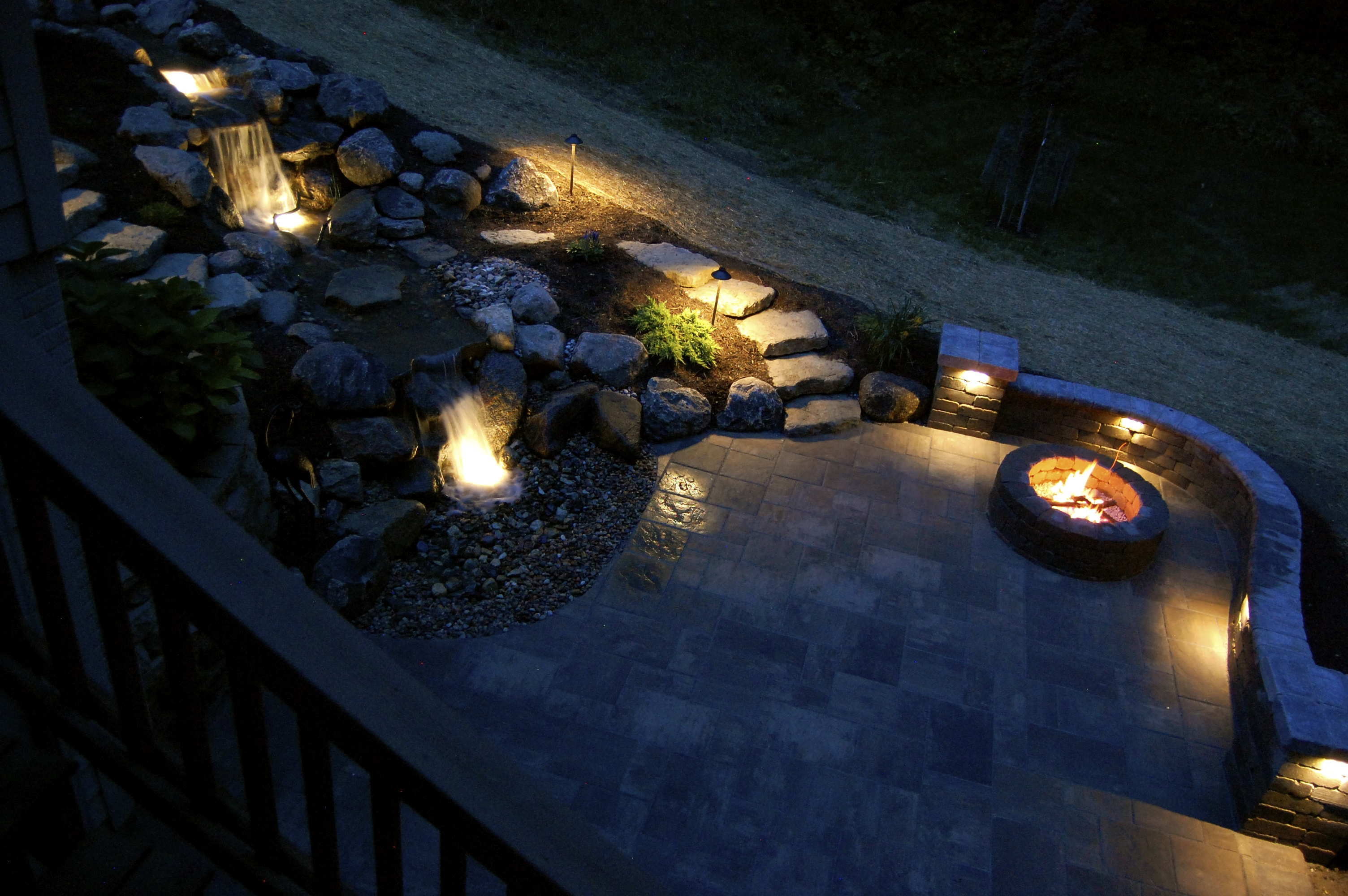 Paver patio, pondless waterfall