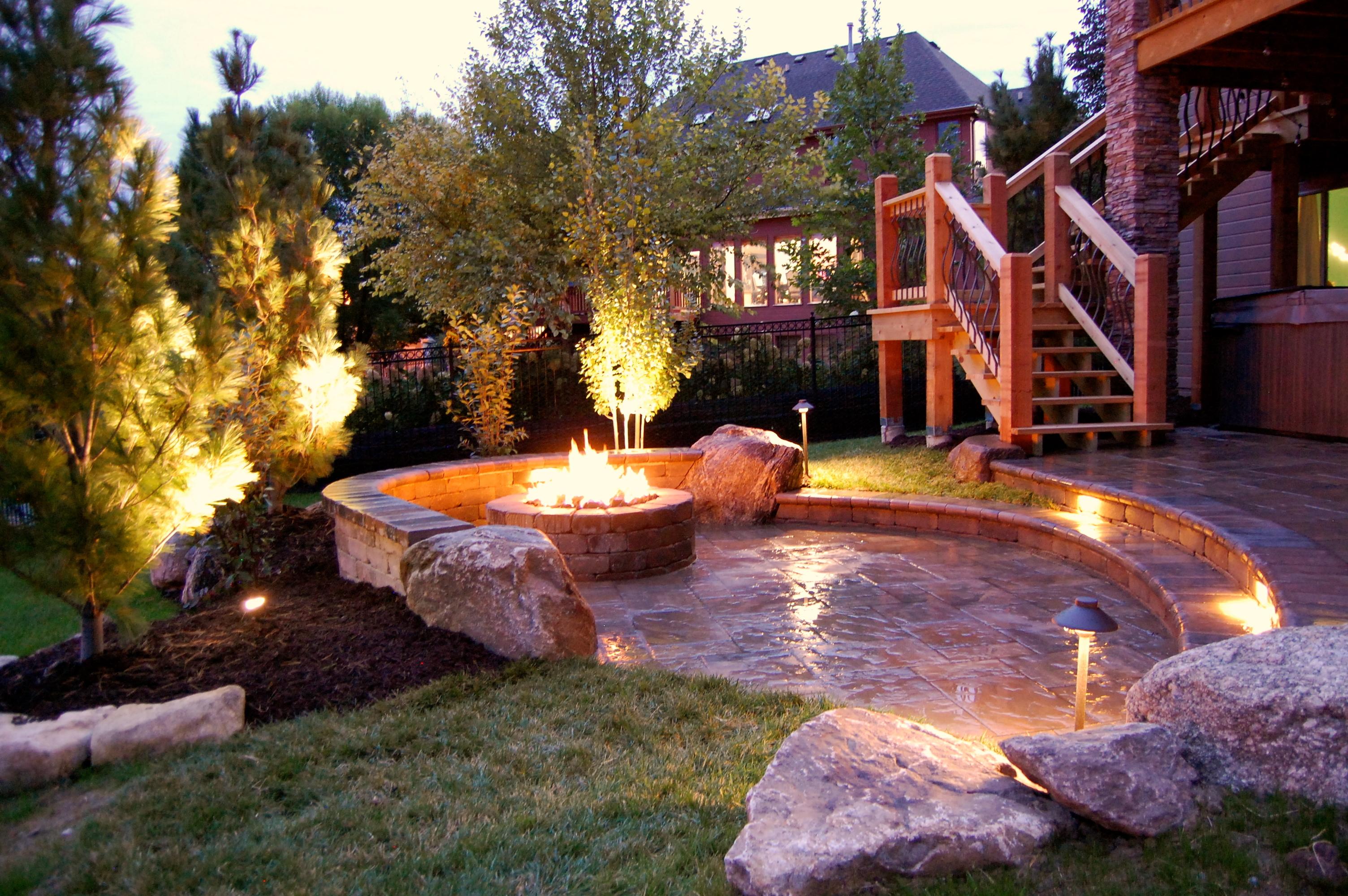 Paver patio, landscape lighting