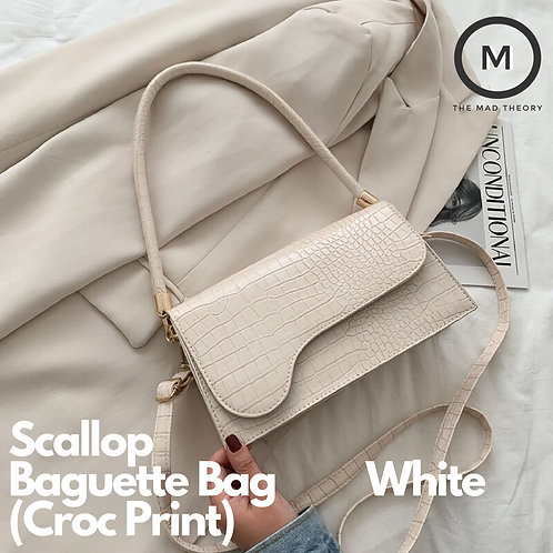 Scallop Baguette Bag (Croc Print)