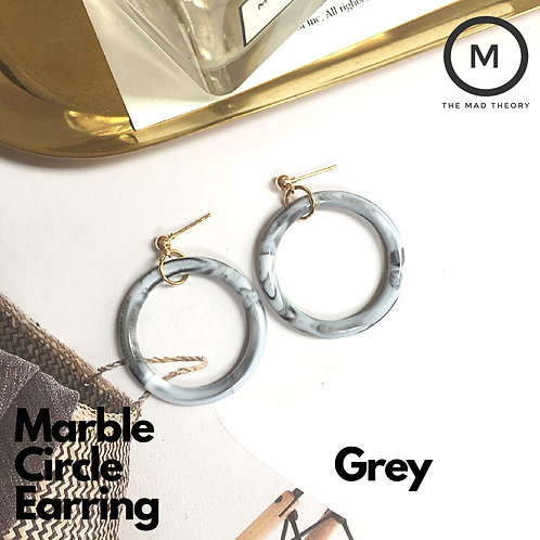 Marble Circle Earring