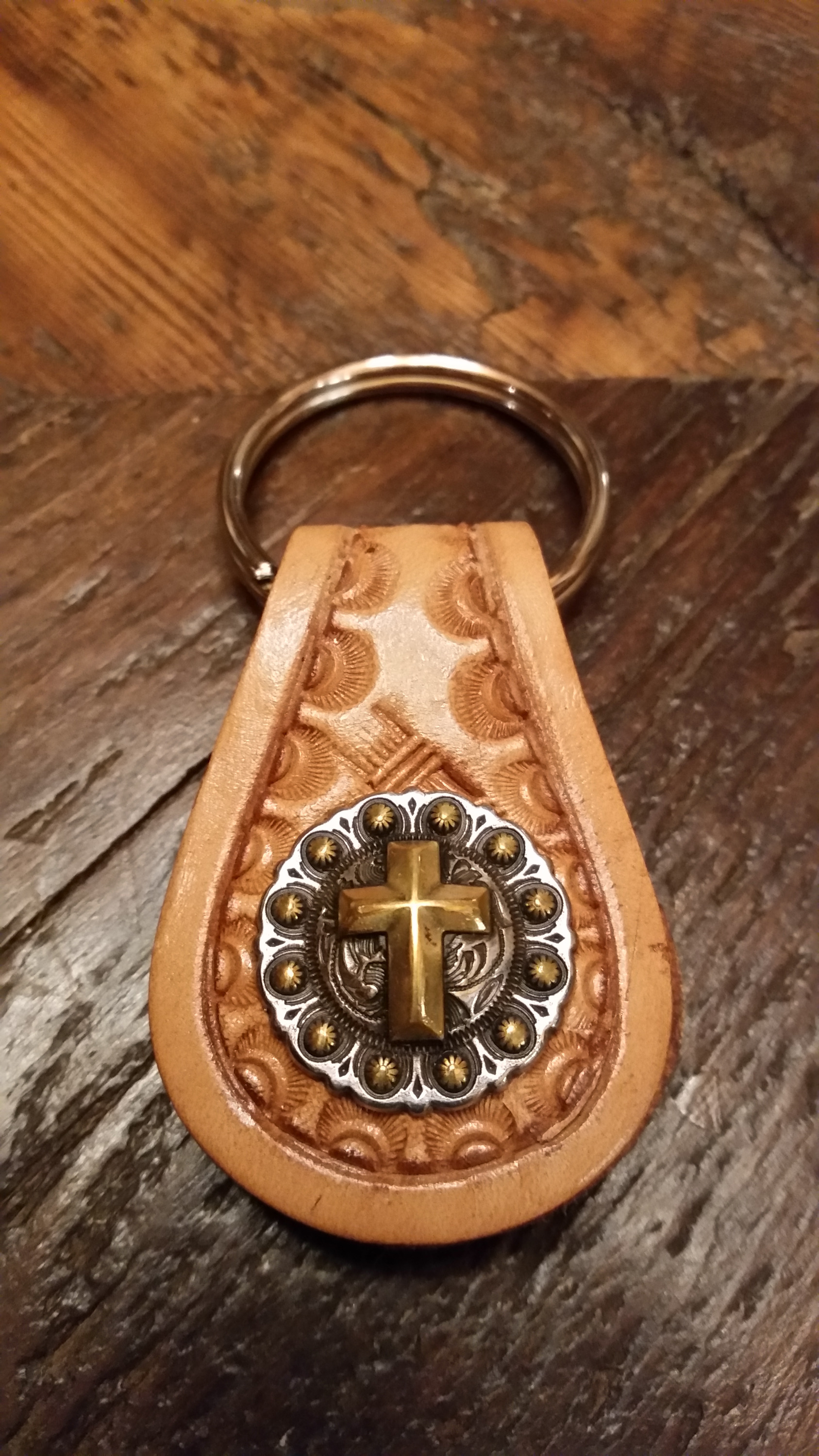 Cross concho key fob