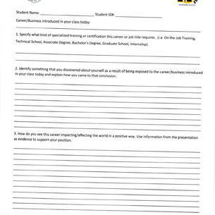 Career Exploration Day Reflection Form
