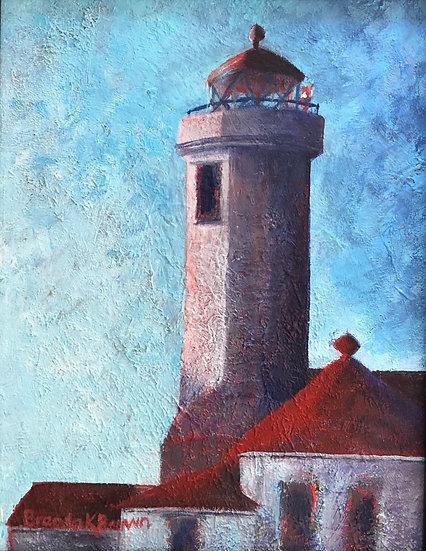 """""""Point Wilson Light"""" framed by Brenda Brown"""