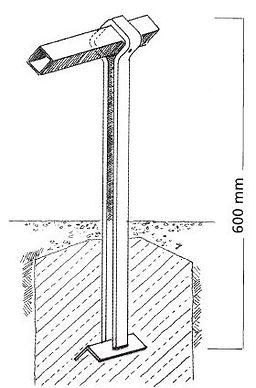 Rabattenbegrenzung IFF 801, Gitterpfosten zum Einbetonieren / Fundamenteinbau.