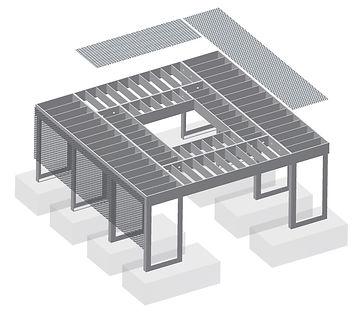 IFF 505-10, quadratischer Unterflurbaumrost mit freitragender Reduzierung der Innenöffnung bei größeren Wurzelballen.