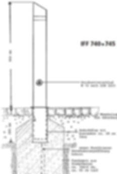 Design-Absperrpfosten IFF 740 und 745 feststehend oder herausnehmbar mit Dreikantverschluß und Bodenhülse.