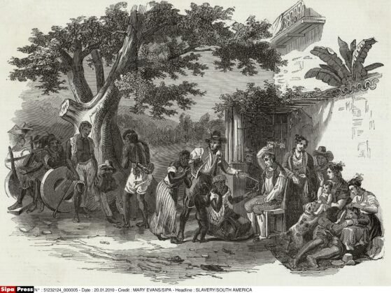 BRASIL Punições domésticas de escravos em uma fazenda de açúcar brasileira Data: 1845