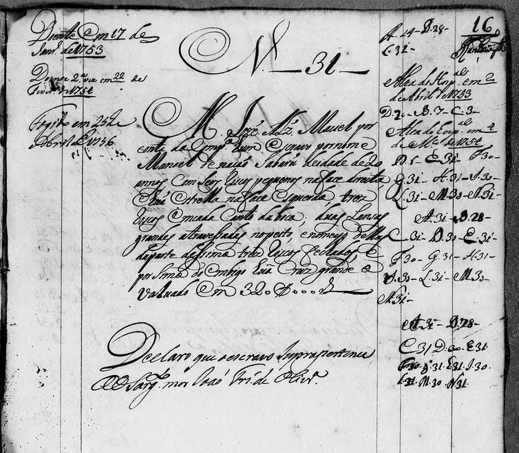 Um registro colonial brasileiro descrevendo marcas de corpos africanos.