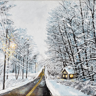 Winter Road (acrylics)