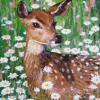 Deer in Daisies (acrylics)