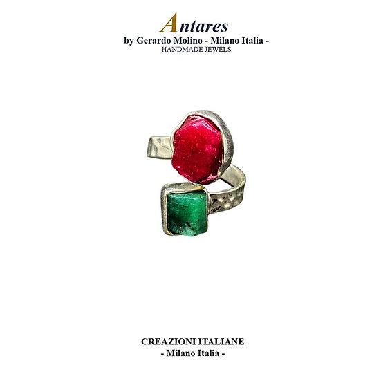 """Anello """"Antares"""" in Ag 925 con Rubino e Smeraldo"""