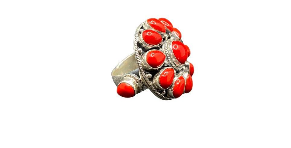 Anello Ag925 con gemme naturali turchesi coralli