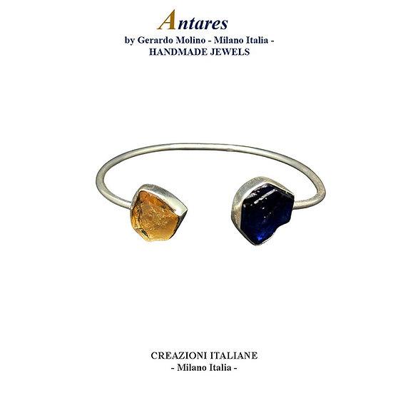 """Bracciale """"Antares"""" in Ag 925 con Zaffiro e Quarzo Citrino"""