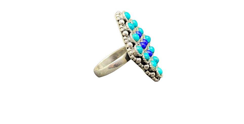 Anello Ag925 con gemme naturali lapislazzuli turchesi