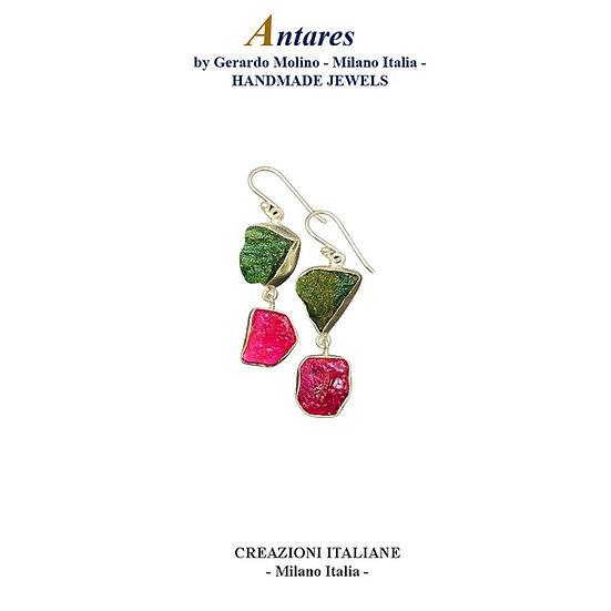 """Orecchini """"Antares"""" in Ag 925 con Rubino e Avventurina"""