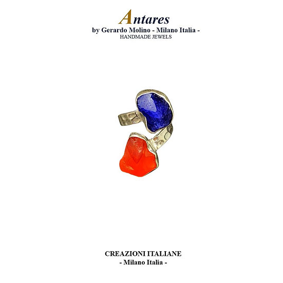 """Anello """"Antares"""" in Ag 925 con Corniola e Tanzanite"""