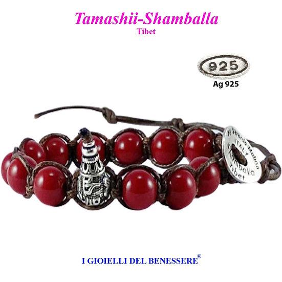 Bracciale Tamashii-Shamballa Agata Rosso Scuro