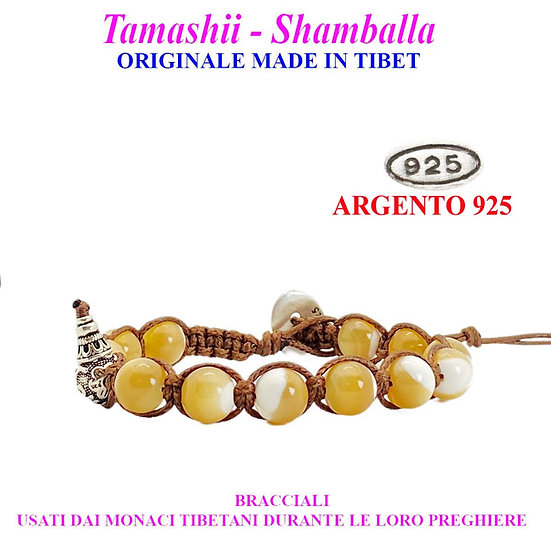 Bracciale Tamashii-Shamballa Madreperla Gialla