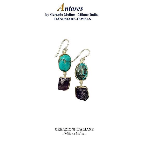 """Orecchini """"Antares"""" in Ag 925 con Turchese e Ametista"""