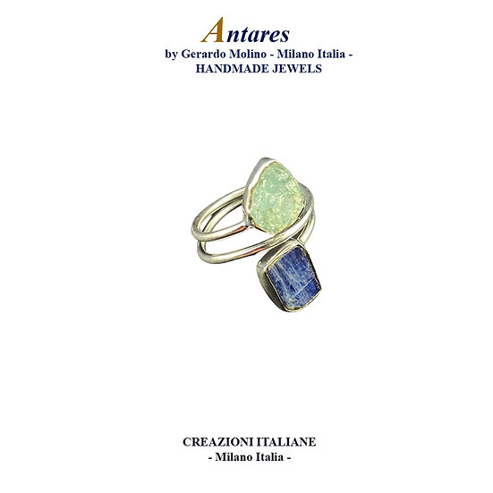 """Anello """"Antares"""" in Ag 925 con Cianite Acquamarina"""