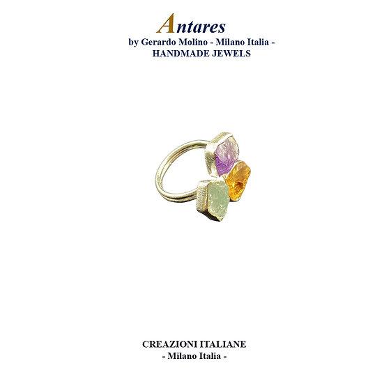 """Anello """"Antares"""" in Ag 925 con Ametista Citrino Acquamarina"""