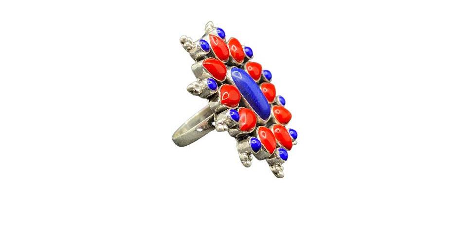 Anello Ag925 con gemme naturali coralli lapislazzuli