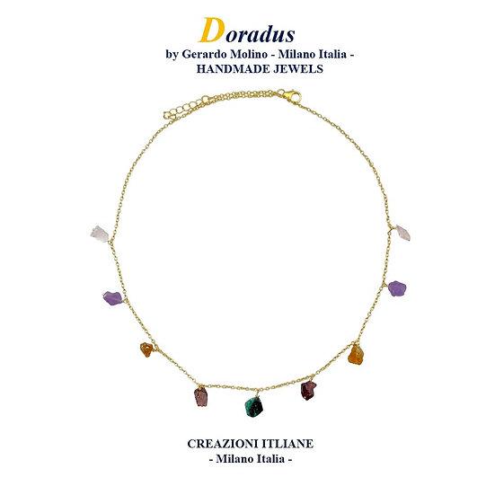 Collana in Argento 925 placcata Oro 750 con Smeraldo