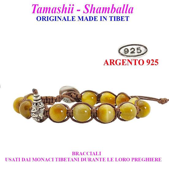 Bracciale Tamashii-Shamballa Occhio di Tigre Gold