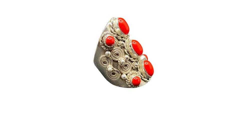 Anello Ag925 con gemme naturali coralli